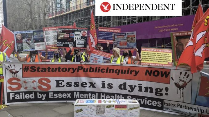 Families calling for an inquiry into Essex mental health deaths outside the Department of Health and Social Care on Wednesday