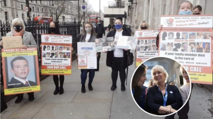 Melanie Leahy (left) and campaigners in London and Nadine Dorries MP (inset)
